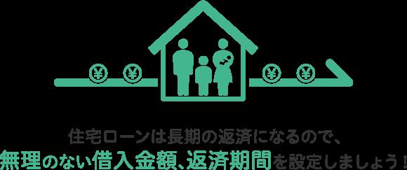 住宅ローンは長期の返済になるので、無理のない借入金額、返済期間を設定しましょう!